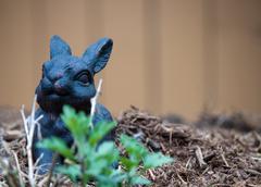 Bunny Decoration in Garden Stock Photos