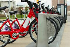 Bixi bikes in Ottawa, Canada - stock photo