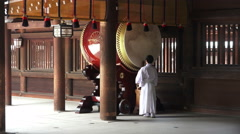 Shinto Priest Bangs Ceremonial Japanese Drum Meiji Jingu Shrine With Audio Stock Footage
