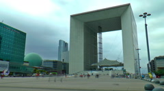 Timelapse of people walking in the central square of La Defense, Paris, France Stock Footage