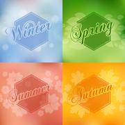Stylish 4 season cards design - stock illustration