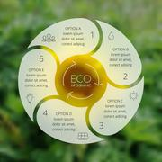 Crcle ecology infographic. Nature blur background. - stock illustration