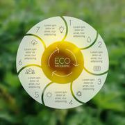Crcle ecology infographic. Nature blur background. Stock Illustration