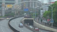 Traffic street Shanghai suburb people commute underway footbridge travel daytime Stock Footage