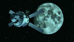 View from camera at the space probe and Moon. Stock Footage