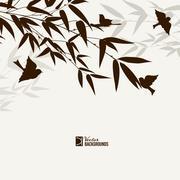 Bamboo bush with birds Stock Illustration