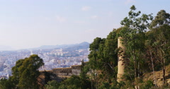 Malaga sunny day city alcazaba castle view 4k Stock Footage