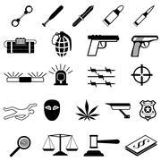 Crime Icons set - stock illustration
