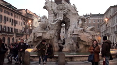 Fountain of the Four Rivers (Fontana dei Quattro Fiumi) at twilight. Stock Footage