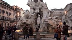 Fountain of the Four Rivers (Fontana dei Quattro Fiumi) at twilight. Stock Footage