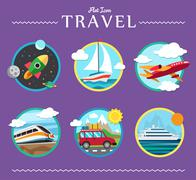 Icons set of traveling, planning a summer vacation, tourism and journey objects Stock Illustration