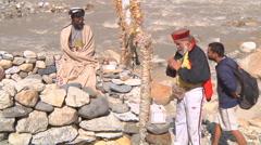 Religious ritual at Gangotri in Uttarakhand, India Stock Footage