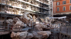 Trevi Fountain (Fontana di Trevi) restoration. Rome Stock Footage