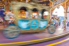 motion of Carousel Horse for children in amusement park - stock photo