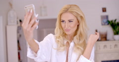 Gorgeous Blond Woman Taking Selfie Photo Stock Footage