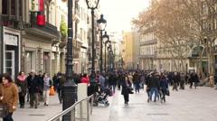 Crowd  La Rambla Barcelona Stock Footage