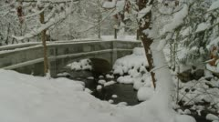 Snow covered arch bridge during winter, Ashland - stock footage