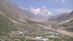 Mountains and village near Gangotri in Uttarakhand, India Stock Footage