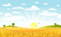 Countryside panorama in the morning Stock Illustration