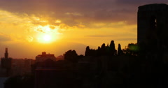 Malaga sunset city castle top view 4k Stock Footage
