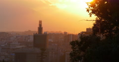 Malaga sunset alcazaba castle church construction view 4k Stock Footage