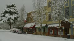 View of snowfall in downtown, Ashland - stock footage
