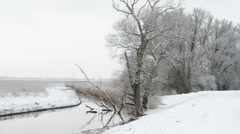 Snowy winter landscape at Havelland (Brandenburg, Germany) Stock Footage