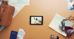 Top view woman traveler using digital tablet touchscreen planning holiday at Stock Footage