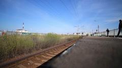 Russian railways, train arrives at the platform Stock Footage