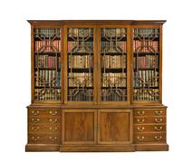 Bookcase antique with books on white with clip path Stock Photos