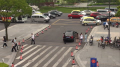 Timelapse traffic road bustling vehicle Shanghai taxi car jam congestion daytime Stock Footage