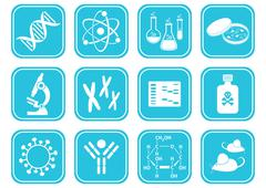 Set of white molecular biology science icons Stock Illustration