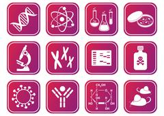 set of red-violet molecular biology science icons - stock illustration