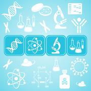 Turquoise card with white molecular biology science icons - stock illustration