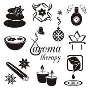 Set of black aromatherapy icons - stock illustration