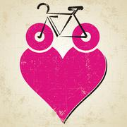 I love my bike icon with heart on grunge background Stock Illustration