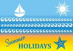 Vector summer holiday card with beach and sea Stock Illustration