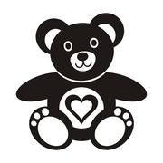 Cute black teddy bear icon with heart on white background Stock Illustration