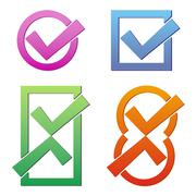 Set of four colorful tick icons on white background Stock Illustration