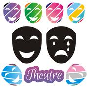 Set of black and colorful theatrical mask on white background - stock illustration