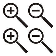Set of four black zoom icons - vector illustration - stock illustration