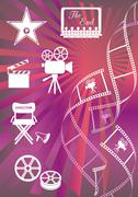 Shiny colored movie background with curl film stripes and movie icons - stock illustration