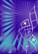 Shiny blue movie background with curl film stripes with movie camera icon - stock illustration