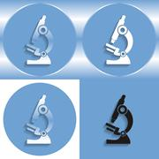 Set of microscope icons on a blue background - vector illustration Stock Illustration