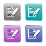 Stock Illustration of Set of four vector write note icons - colored web buttons