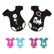 New born baby bodysuit icons - boy and girl variants - black and colored Stock Illustration