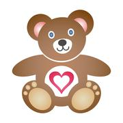 Cute coloured teddy bear icon with heart on white background - stock illustration