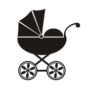 Cute black baby carriage icon on a white background - vector illustration Piirros