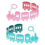 Couple of pink and blue trains on a white background - curl shaped Stock Illustration