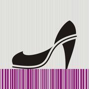 Black high heel woman shoe isolated on retro striped background Stock Illustration